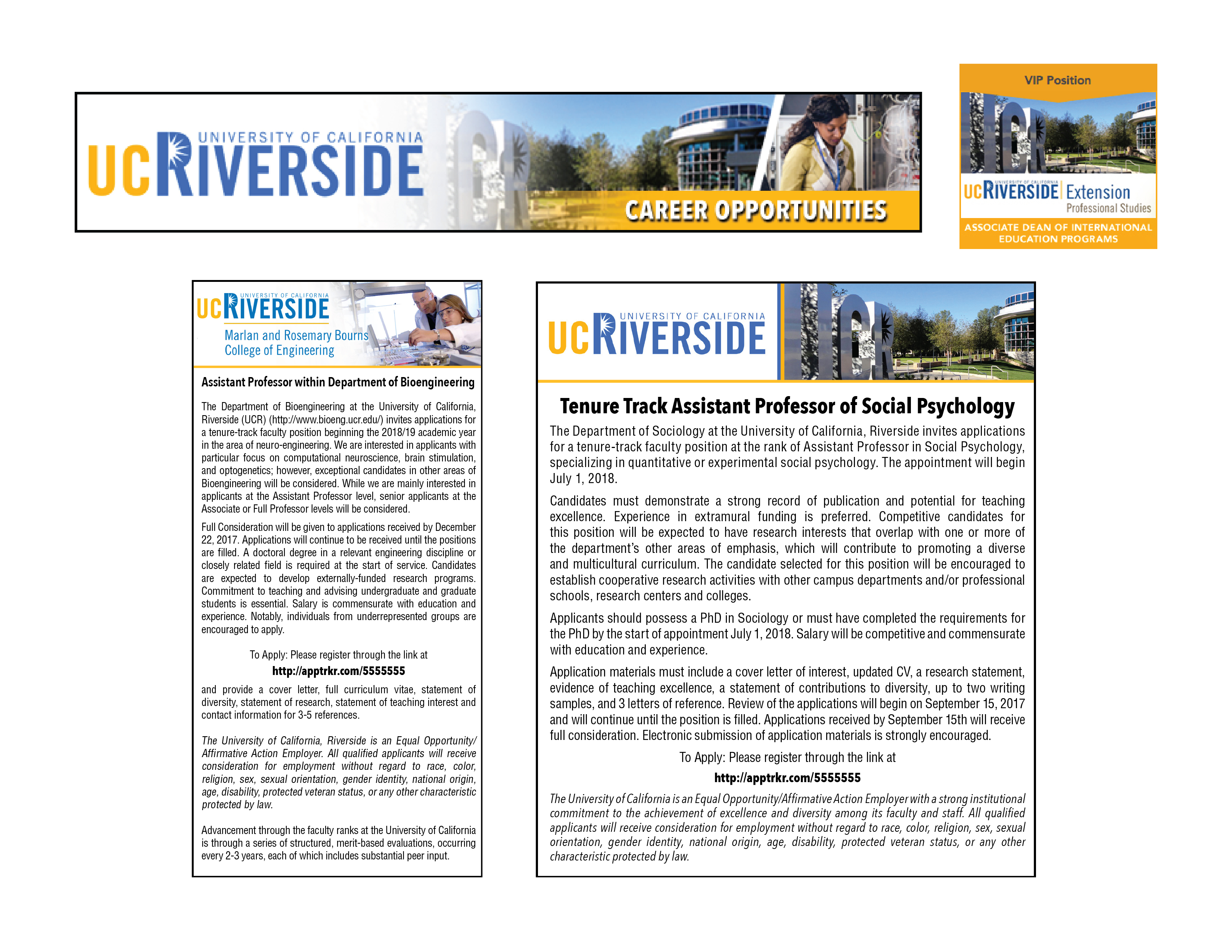 all design services from jobelephant are free of charge below are just a few of the ads weve designed for uc riverside
